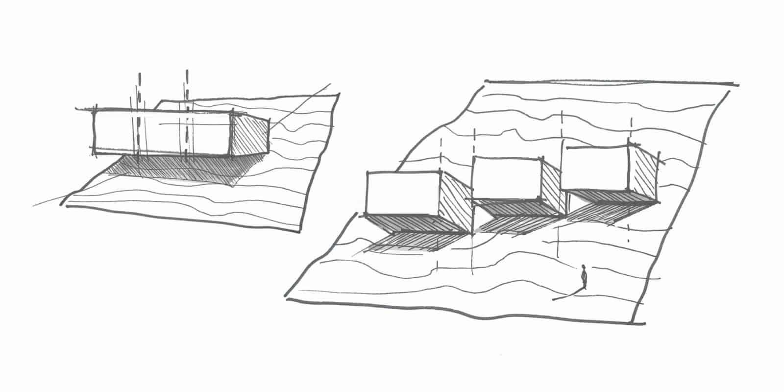 Esquisse roquis architecte - Maison d'architecte, villa contemporaine - Archidomo - architecture Annecy Lyon Paris