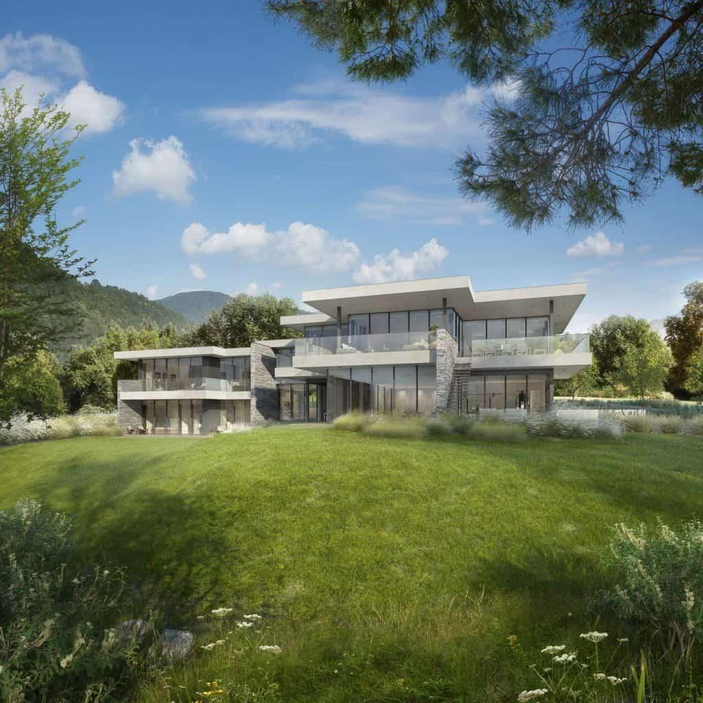 Maison esprit Frank Lloyd Wright - Maison d'architecte, pierre et béton villa contemporaine - Archidomo - Annecy Lyon Paris