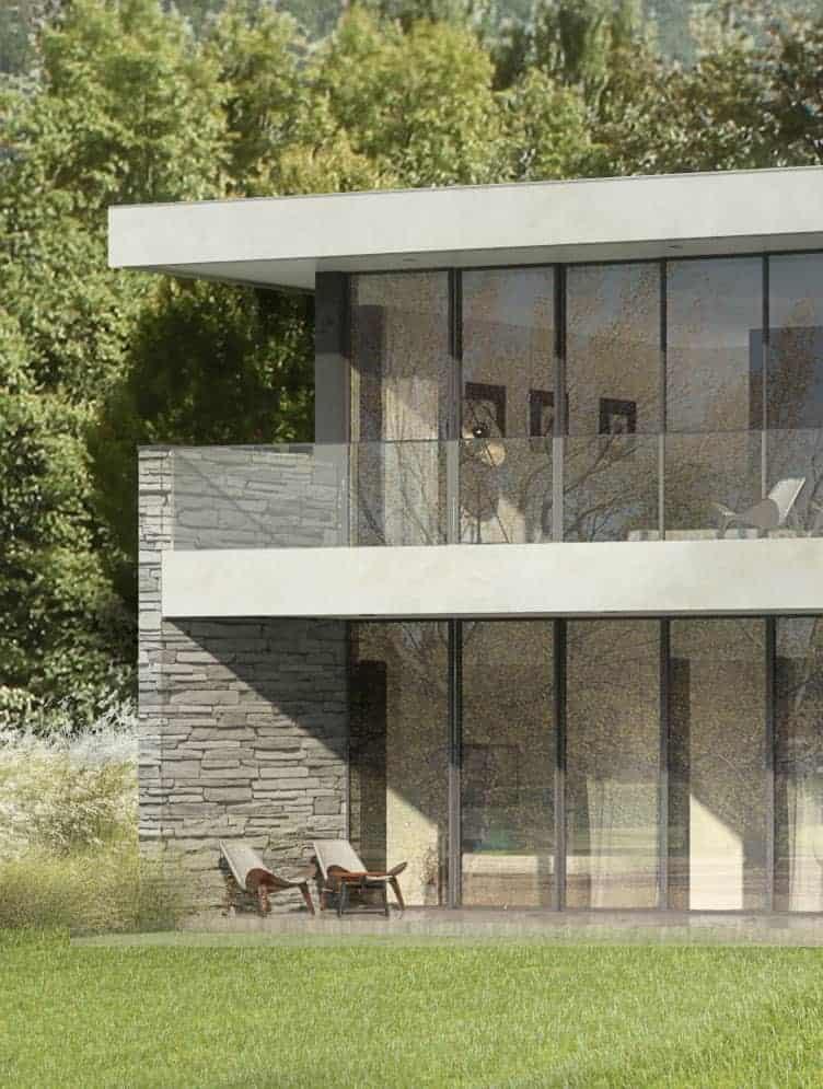 Maison en pierre villa d'architecte contemporaine Annecy Maison d'architecte, villa contemporaine - Archidomo Annecy Lyon Paris