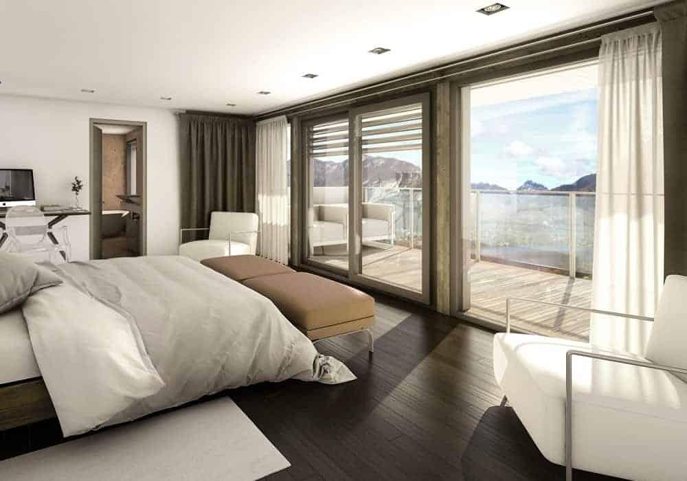 Chambre vue lac Annecy - Maison d'architecte, villa contemporaine - Archidomo