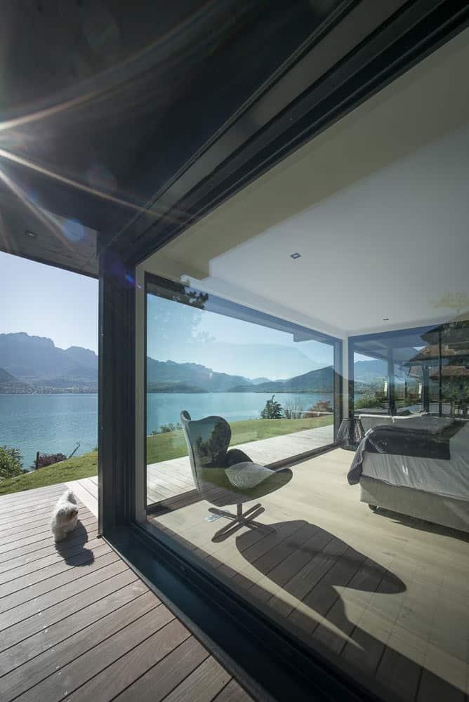 Villa vue lac Toit Architectural, Lac d'Annecy - Maison d'architecte, villa contemporaine - Archidomo