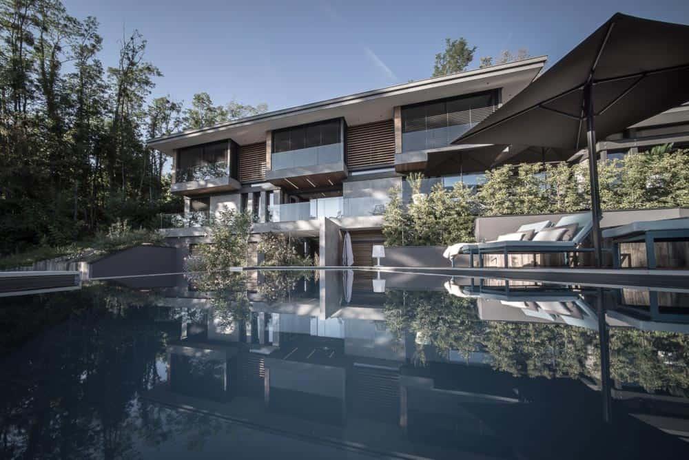 Piscine débordement, Lac d'Annecy - Maison d'architecte, villa contemporaine - Archidomo