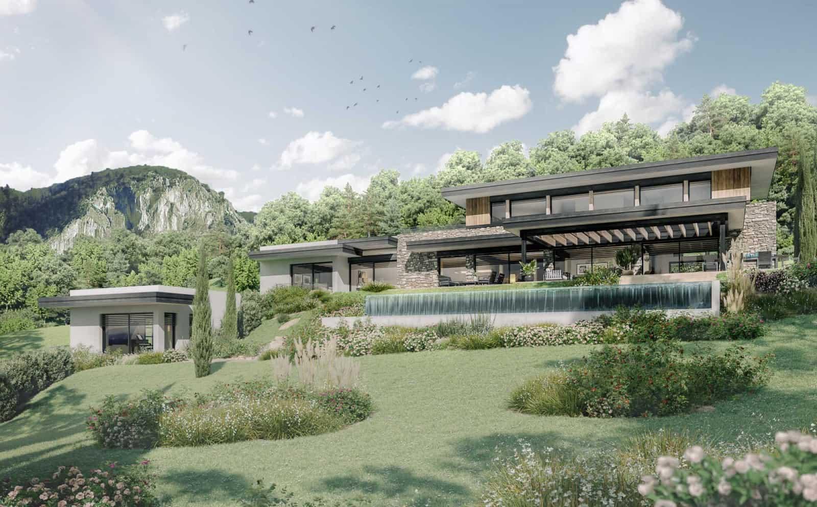 Maison contemporaine. Archidomo, Cabinet d'Architecte & Architecte d'intérieur à Annecy, Talloires, Megève, Courchevel