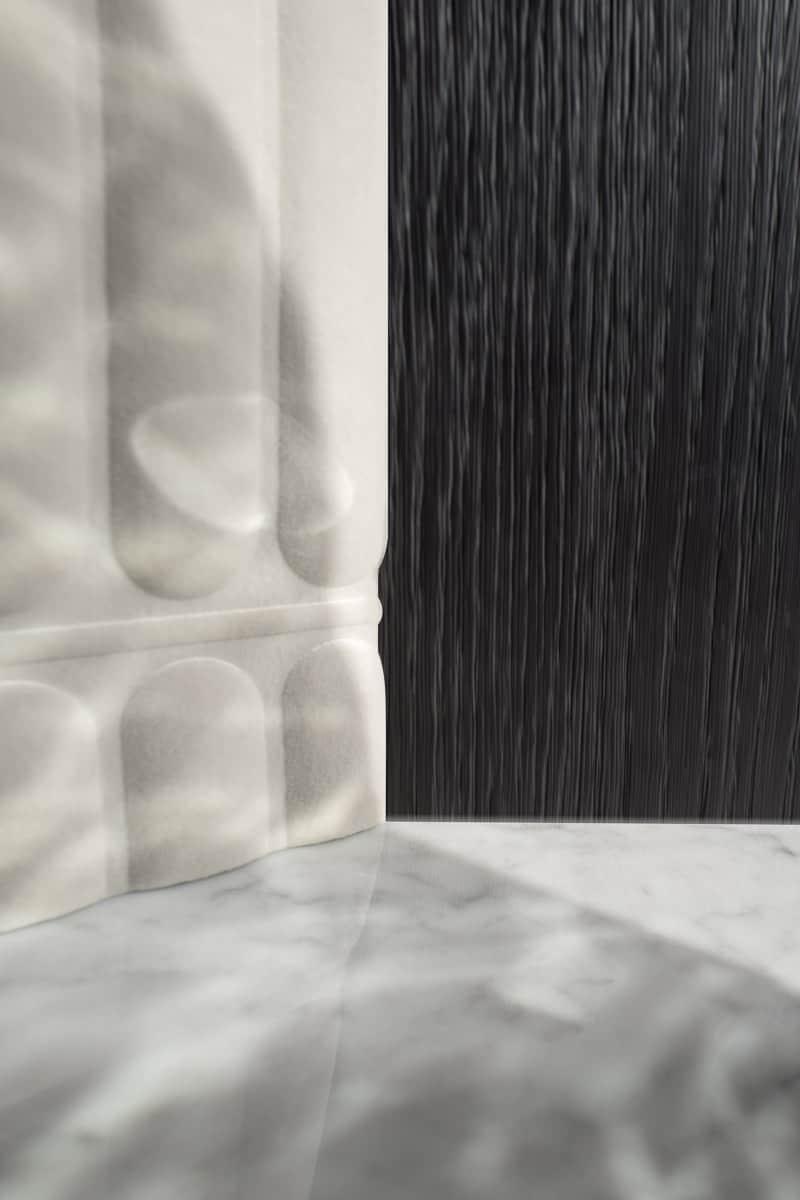 Décoration interieur, marbre, bois et tissus. Chalet Megève