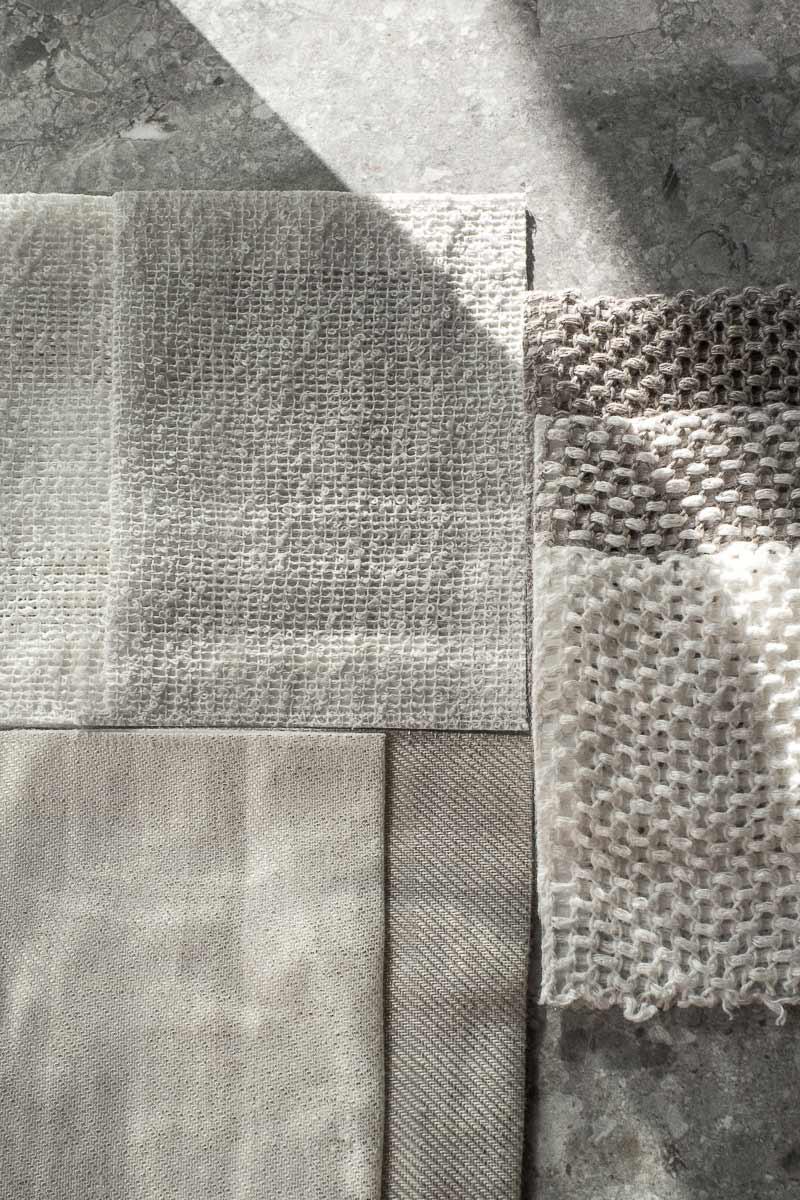 Composition de tissus d'agencement, matières et teintes naturelles. Architecte d'intérieur, Archidomo Interior à Annecy, Talloires, Megève, Courchevel