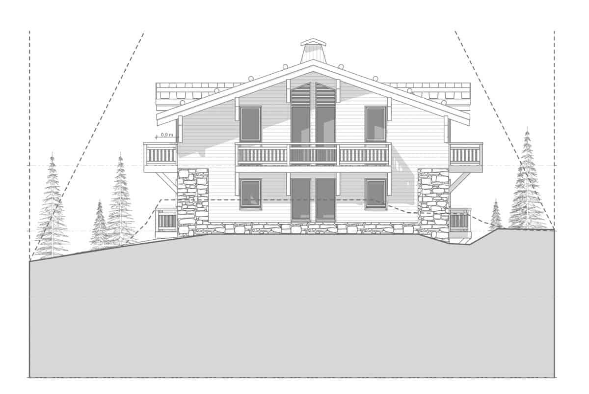 Archidomo, architecte, plan chalet, Courchevel, Megève, Val d'Isère, Chamonix...